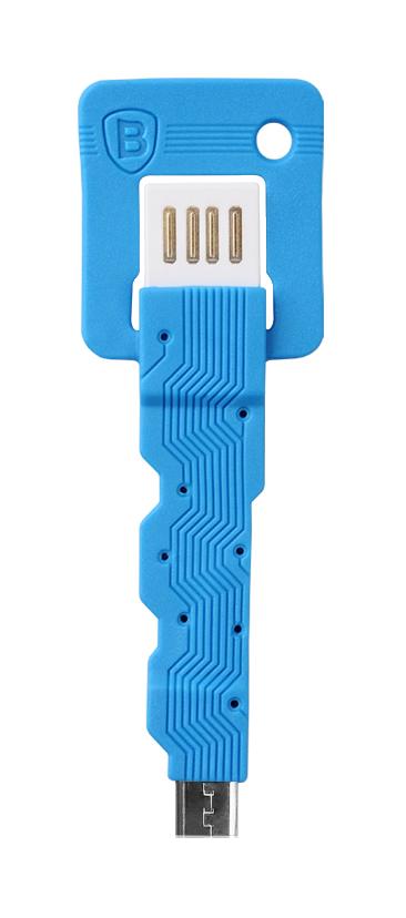 Кабель Baseus Keys Micro USB СинийКабели<br>Кабель Baseus Keys Micro USB Синий. . В последнее время произошел просто BOOM в развитии цифровых аппаратов, в связи с этим BOOM-ом нельзя не заметить появление огромного количества аксессуаров, создаваемых для них. Для пользователей Android устройств особенно хочется выделить Baseus Keys Micro USB. Аксессуар представляет собой обрезиненный провод с USB-штекером с одной и micro-USB с другой стороны. . Аксессуар имеет совсем небольшие размеры, сопоставимые с брелоком среднего размера, а круглое отверстие в корпусе позволит повесить его на ключи. Благодаря такой доступности в любой момент вы сможете подключить своё Android устройство к компьютеру или зарядному устройству. Совместим с устройствами на платформе Android.. .<br>