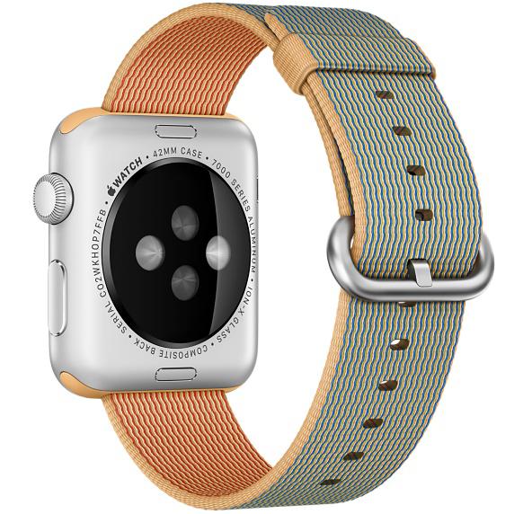 Ремешок нейлоновый Special Nylon для Apple Watch 2 / 1 (42мм) Золотистый/КобальтРемешки<br>Ремешок нейлоновый Special Nylon для Apple Watch 2 / 1 (42мм) Золотистый/Кобальт.         Новый дизайн ремешка для apple watch, который изготовлен из сотен нитей прочного и долговечного нейлона различной окраски создает интересный визуальный эффект         Материал не является аллергеном, и рука не будет потеть в жаркую погоду               Он одинаково хорошо подойдет как женщинам, так и мужчинам для запястья 145-215мм.<br>