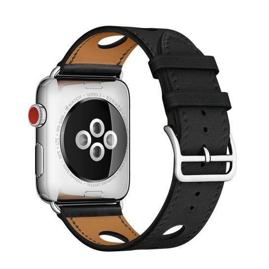 Ремешок кожаный HM Style Rallye для Apple Watch 38мм ЧерныйРемешки<br>Высококачественный кожаный ремешок с крупной перфорацией стильно смотрится на руки и позволит коже дышать                   Стальная застежка дополняет модный образ       Характеристики:     совместимость: apple watch 42мм всех поколений   материал: кожа<br>