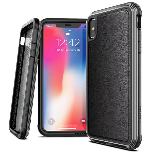 Чехол X-Doria Defense Lux для iPhone Xs Max Чёрная кожа фото