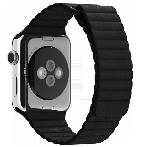 Ремешок кожаный для Apple Watch 2 / 1 (42мм) ЧерныйРемешки<br>Ремешок выполнен из натуральной кожи с фирменным креплением для часов от Apple     Фиксация браслета происходит по аналогии с миланским браслетом благодаря интегрированным магнитам. То есть вы просто прислоняете одну часть ремешка к другой и они надежно примагничиваются      Длина ремешка составляет 185мм<br>