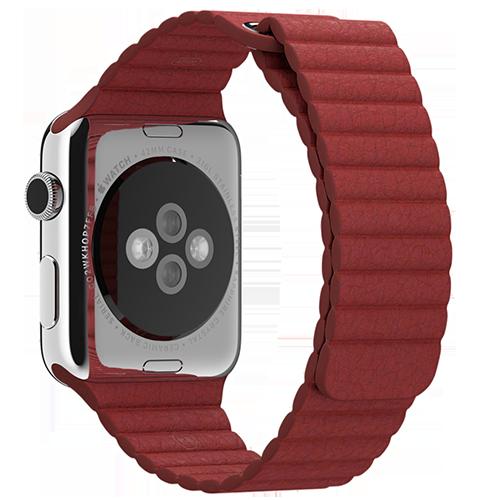 Ремешок кожаный для Apple Watch 2 / 1 (38мм) КрасныйРемешки<br>Ремешок выполнен из натуральной кожи с фирменным креплением для часов от Apple     Фиксация браслета происходит по аналогии с миланским браслетом благодаря интегрированным магнитам. То есть вы просто прислоняете одну часть ремешка к другой и они надежно примагничиваются. Длина ремешка составляет 185мм<br>
