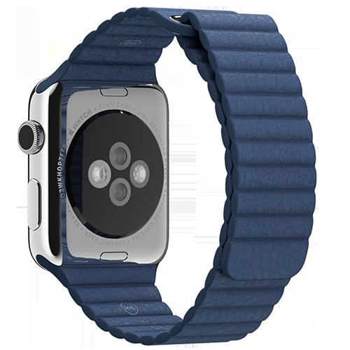 Ремешок кожаный для Apple Watch 2 / 1 (42мм) СинийРемешки<br>Ремешок выполнен из натуральной кожи с фирменным креплением для часов от Apple     Фиксация браслета происходит по аналогии с миланским браслетом благодаря интегрированным магнитам. То есть вы просто прислоняете одну часть ремешка к другой и они надежно примагничиваются      Длина ремешка составляет 185мм<br>