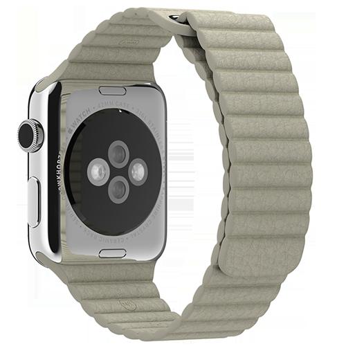 Ремешок кожаный для Apple Watch 2 / 1 (38мм) БежевыйРемешки<br>Ремешок выполнен из натуральной кожи с фирменным креплением для часов от Apple     Фиксация браслета происходит по аналогии с миланским браслетом благодаря интегрированным магнитам. То есть вы просто прислоняете одну часть ремешка к другой и они надежно примагничиваются. Длина ремешка составляет 185мм<br>