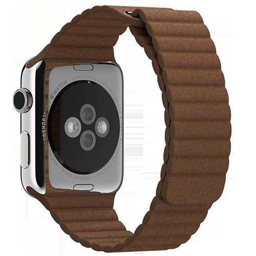 Ремешок кожаный для Apple Watch 2 / 1 (42мм) КоричневыйРемешки<br>Ремешок выполнен из натуральной кожи с фирменным креплением для часов от Apple.     Фиксация браслета происходит по аналогии с миланским браслетом благодаря интегрированным магнитам. То есть вы просто прислоняете одну часть ремешка к другой и они надежно примагничиваются. Длина ремешка составляет 185мм.<br>
