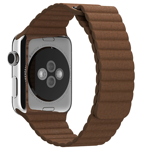 Ремешок кожаный для Apple Watch 2 / 1 (38мм) КоричневыйРемешки<br>Ремешок выполнен из натуральной кожи с фирменным креплением для часов от Apple     Фиксация браслета происходит по аналогии с миланским браслетом благодаря интегрированным магнитам. То есть вы просто прислоняете одну часть ремешка к другой и они надежно примагничиваются. Длина ремешка составляет 185мм<br>