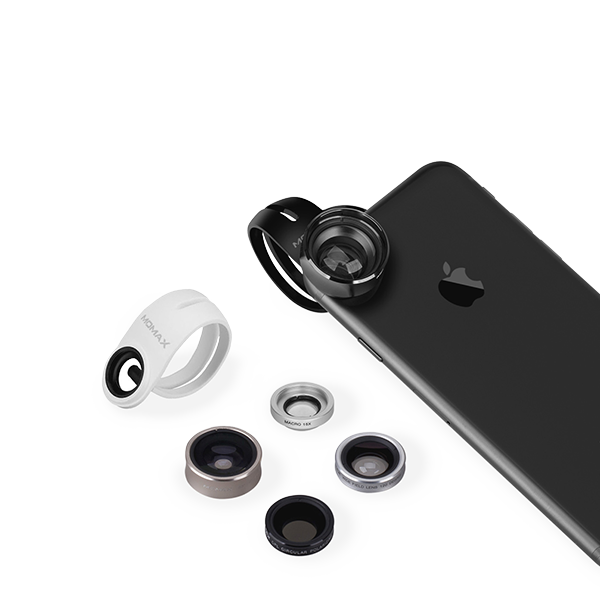 Набор из 5 объективов Momax 5in1 Superior Lens Kit для смартфоновОбъективы<br>Набор сменных объективов для смартфонов на все случаи жизни, способный воплотить практически любые задумки творческой личности. Благодаря универсальной клипсе, объективы подойдут к практически любому смартфону. Высококачественные стекла имеют высокие оптические свойства, а корпуса объективов изготовлены из высококачественного и долговечного алюминия.    Все объективы упакованы в приятный миниатюрный бокс, позволяющий не повредить и не растерять их                 ТЕЛЕОБЪЕКТИВ   Телевик позволяет сделать 2.5-кратный оптический зум и отлично подойдет для съемки портретов и объектов на удалении. Не путайте с цифровым зумом, доступным в приложении камера, который ухудшает изображение при увеличении                     МАКРО   Один из самых интересных объективов в линейке. Он увеличивает картинку в 15 раз и позволяет сфокусироваться на близких объектах, имея очень маленькую глубину резкости, позволяя красиво размыть фон. В руках творческой личности эта линза способна на очень интересные кадры                            ШИРОКОУГОЛЬНЫЙ   Широкоугольная линза имеет угол обзора аж 120 градусов и идеально подойдет для съемки пейзажей и стрит фотографии                   ПОЛЯРИК   Поляризационная линза хорошо знакома профессиональным фотографам, так как имеется в арсенале практически у каждого. Она позволяет убрать с изображения нежелательные блики а так же увеличивает насыщенность цветов                           РЫБИЙ ГЛАЗ   Эффект рыбьего глаза отлично передает эффект присутствия и дает максимальный угол обзора<br>