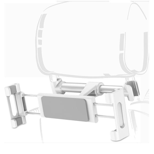 Держатель на подголовник Baseus Back Seat Car Mount Holder БелыйДержатели (авто)<br>Автомобильный держатель предназначен для заднего пассажира        Фиксация происходит на ножки подголовника переднего сиденья. Фиксаторы имеют резиновые проставки дабы не поцарапать последние              Cам держатель имеет шарнирную головку, позволяющую задать горизонтальное или вертикальное положение смартфона или планшета а так же настроить удобный угол наклона          ХАРАКТЕРИСТИКИ:  совместимы планшеты/смартфоны 4.7-12.9 дюйма  фиксируется на ножки подголовника переднего сиденья  вес 218 грамм<br>