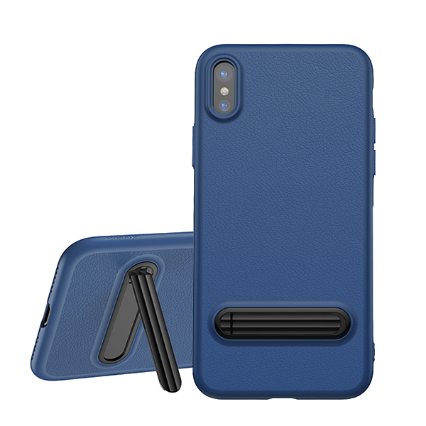 Baseus Happy Watching Case - чехол с подставкой для iPhone X СинийЧехлы<br>Стильный кейс из термополеуретана (плотного силикона) плотно облегает корпус iPhone, обеспечивая его хорошими защитой благодаря своим амортизационным свойствам         Подставка, встроенная в заднюю крышку, позволяет комфортно просматривать видео<br>