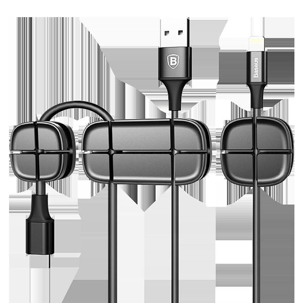 Держатель для проводов Baseus Cross Peas Cable Clip ЧерныйПрочее<br>Миниатюрный набор аксессуаров способен ощутимо упростить жизнь своему владельцу, организовав порядок в проводах                  Набор состоит из трех стикеров с самоклеящейся поверхностью, не оставляющей следов после отклеивания            Стикеры из силикона и имеют борозды, в которые вставляются провода под нужным углом в нужном направлении         В результате ваши кабели всегда будут ждать вас в нужном месте, там где удобнее всего осуществлять зарядку или передачу данных<br>