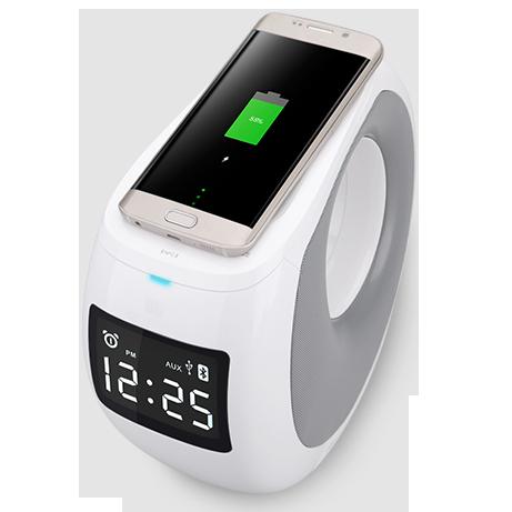 Акустическая система+беспроводная зарядка+часы+будильник Nillkin Cozy MC1Акустические системы<br>Nillkin Cozy MC1 - ультимативное устройство из глянцевого белого поликарбоната с футуристическим дизайном, сочетающее в себе огромное множество функций,таких как акустика, будильник, зарядку, беспроводную зарядку, часы и многое другое, но обо все по порядку:          АКУСТИЧЕСКАЯ СИСТЕМА  Основу устройства составляет состоящая из двух каналов (динамиков), мощностью по 10 Ватт каждый, отвечающих за разный диапазон частот, благодаря чему звук получается объемный и насыщенный, с хорошими басами и четкими верхами». Усилитель от Texas Instruments делает звук громче не в ущерб качеству, а технология APT-X позволяет передавать по Bluetooth высокое качество аудио, сравнимое с воспроизведением CD. Источник можно подключить как по Bluetooth, так и через стандартный вход Aux, расположенный на тыльной стороне                          ЗАРЯДКА  На верхней части Cozy MC1 расположилась площадка с встроенной беспроводной зарядкой типа Qi (мировой стандарт) мощностью 1 Ампер. Все что вам нужно, просто положить совместимый смартфон сверху и он зарядится. Кроме того на тыльной стороне есть стандартный USB выход мощностью 2 Ампера            БУДИЛЬНИК  На LCD дисплее всегда отражается текущее время. Вы можете устанавливать будильник в несколько касаний, который точно не проспите, учитывая качество встроенных динамиков               ОСТАЛЬНОЙ ФУНКЦИОНАЛ  Кроме того вы можете разговаривать по телефону, благодаря встроенному микрофону и функции «громкая связь». Для моментального подключения, устройство имеет NFC (для совместимых смартфонов)          Cozy MC1 по достоинству займет свое место на прикроватной тумбе, избавив вас от лишних устройств и проводов, а так же украсив комнату стильным дизайном                  Спецификация:     Функции: Bluetooth воспроизведение, ответ на звонки, ,беспроводная зарядка, будильник, Aux воспроизведение, NFC сопряжение, USB зарядка   Bluetooth CSR 4.0+DSP   Ве