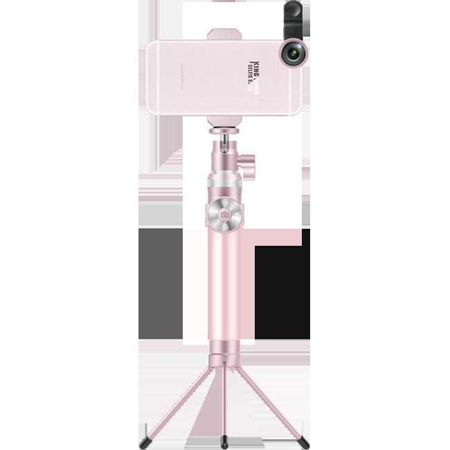 Премиум монопод + трипод + штатив Noosy KingKong РозовыйШтативы<br>Ультимативный монопод от Noosy полностью выполнен из авиационного алюминия и является не просто палкой для селфи а неким гибридом с профессиональным штативом. Его длина в разложенном состоянии достигает 92 см., а в сложенном всего 24. Отсоединяемый пульт управления с функциями фото, видео и зума совместим с Android и Apple (на iOs работает только кнопка спуска).           Так же в комплект поставки входит компактная металлическая тринога, позволяющая превратить аксессуар в полноценный штатив                 Стандартная резьба на вращающейся головке позволяет установить лубой фотоаппарат, от дешевой мыльницы до профессиональной зеркалки       Комплектация:     монопод Noosy KingKong   пульт управления   крепление для смартфона от 4 до 6 дюймов   металлическая тринога   ремешок на запястье   зарядный кабель   мешочек для переноски<br>