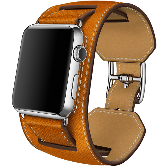 Ремешок кожаный HM Style Cuff для Apple Watch 2 / 1 (38mm) ОранжевыйРемешки<br>Шикарный ремешок из натуральной телячьей кожи выполнен в ретро стиле     При желании можно отсоединить широкую часть и получится классический ремешок           Качество ремешка, кожи и исполнения - первоклассное. Подойдет для запястья 23-26см<br>