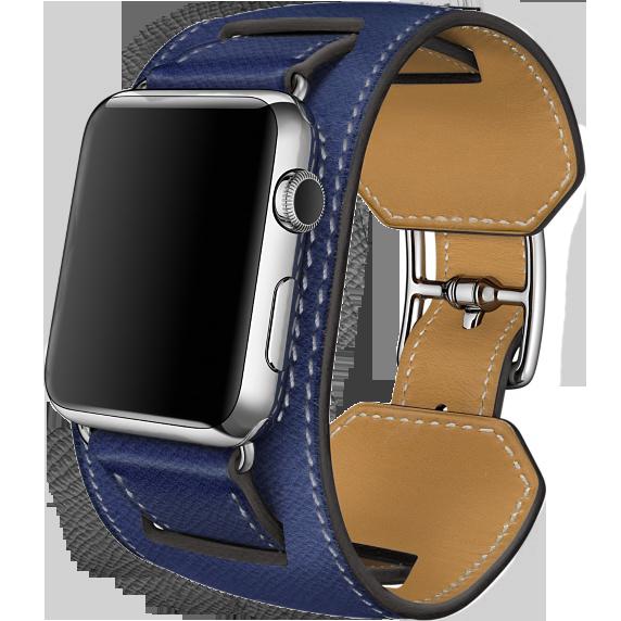 Ремешок кожаный HM Style Cuff для Apple Watch 2 / 1 (38mm) Темно-СинийРемешки<br>Шикарный ремешок из натуральной телячьей кожи выполнен в ретро стиле     При желании можно отсоединить широкую часть и получится классический ремешок           Качество ремешка, кожи и исполнения - первоклассное. Подойдет для запястья 23-26см<br>