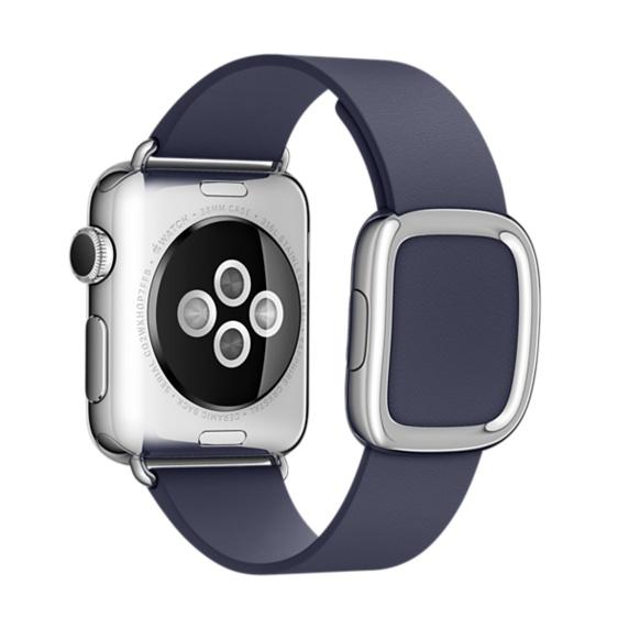 Ремешок кожаный Modern Buckle для Apple Watch 2 / 1 (38mm) Темно-СинийРемешки<br>Женский кожаный ремешок с стильной металлической застежкой     Аксессуар подойдет на запястье обхватом 145-165 миллиметров<br>