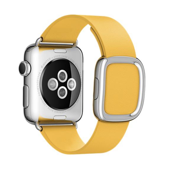 Ремешок кожаный Modern Buckle для Apple Watch 2 / 1 (38mm) ЖелтыйРемешки<br>Ремешок кожаный Modern Buckle для Apple Watch 2 / 1 (38mm) Желтый.       Женский кожаный ремешок с стильной металлической застежкой     Аксессуар подойдет на запястье обхватом 145-165 миллиметров<br>