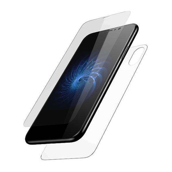 Набор стекол на перед и зад Baseus Glass Film Set для iPhone X ПрозрачныеСтёкла<br>3D СТЕКЛО НА ДИСПЛЕЙBaseus Glass Film Set состоит не из одного, а из набора защитных стекол. Для дисплея iPhone X предназначено сверхпрочное 3D стекло прочностью 9H, покрывающее дисплей полностью и толщиной всего 0.2мм           ЗАЩИТНОЕ СТЕКЛО НА ЗАДНЮЮ КРЫШКУПоскольку задняя крышка у iPhone X тоже стеклянная, набор имеет защитное стекло и для неё, который предостережет от царапин и сколов                   ПРОСТОЕ В УСТАНОВКЕ   Особая структура и покрытие позволяют с легкостью наклеить стекло даже не опытному пользователю. Просто положите его по центру дисплея, предварительно очистив его инструментами, идущими в комплекте. Далее разгладьте от центра к краям. Всё                   КОМПЛЕКТ ДЛЯ ЧИСТКИ СМАРТФОНАПомимо стекла, в комплект поставки входят наклейки для удаления пылинок и влажная салфетка для очистки дисплея перед установкой стекла. Кроме того вы получите тряпочку из микрофибры и жироудаляющую жидкость           ОСОБЕННОСТИ:     комплект на дисплей и заднюю крышку   0.2мм спереди, 0.3мм сзади   основной материал - Каленое стекло   совместимость: iPhone X   жесткость: 9H   чистящие средства в комплекте<br>
