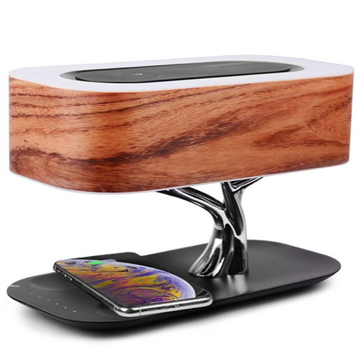 Беспроводная зарядка+Bluetooth акустика+лампа HomeTree Light of the tree B2S (Темный шпон) фото