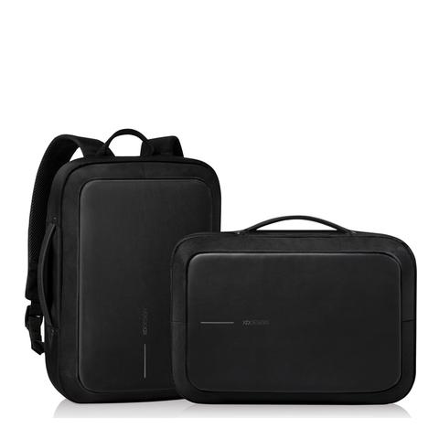 Рюкзак XD Design Bobby BizzРюкзаки<br>Рюкзак XD Design Bobby Bizz.           Сумка и Рюкзак в одном флаконеУникальная конструкция Bobby Bizz позволяет использовать его одновременно как деловую сумку для электроники, документов и прочих повседневных вещей делового горожанина, но и как полноценный рюкзак, благодаря спрятанным лямкам, которые можно достать за несколько мгновений               Беспрецедентная защита от кражи и карманниковДизайнеры заявляют, что идея создания Bobby появилась после посещения Шанхая. В переполненном городе туристы, опасаясь кражи, носили свои портфели задом наперед. Модель имеет 5 уникальных средств защиты от краж:     Четырехслойная текстура, один из которых стальной эффективно препятствует порезам даже канцелярским ножом и скальпелем   Скрытые молнии не позволят незаметно расстегнуть рюкзак сзади   Скрытые карманы в местах, не доступных воришкам   Сейфовый замок на стальном троссе, пропущенном через всю лямку, позволит зафиксировать скрытые молнии или закрепить рюкзак за стол, стул или любую другую стойку            3 режима открытияРюкзак, в зависимости от потребности, открывается под тремя углами. Для быстрого доступа в общественном транспорте или на ходу достаточно приоткрыть его на 30 градусов, а для полной загрузки или разгрузки содержимого - на 90 и даже 180 градусов              Металлический каркас для защиты содержимогоВнутри, по периметру, встроен тонкий металлический каркас, защищающий содержимое от внешних воздействий, а так же удерживает идеальную форму Bobby Bizz          USB выход для зарядки гаджетов  Сумка-рюкзак имеет удобный USB выход, позволяющий разместить внешний аккумулятор внутри и заряжать смартфон на ходу, не выпуская его из рук                  Всё под рукойДля удобного пользования в общественных местах предусмотрено множество потайных мелких карманчиков для быстрого доступа к содержимому сумки. Кармашки в лямках подойдут для хранения мелочи, кредитных карт, смартфона или ключей.        Внутри рюкзак разделен н