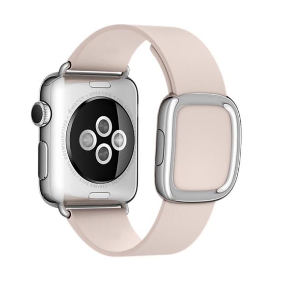 Ремешок кожаный Modern Buckle для Apple Watch 2 / 1 (38mm) Нежно-РозовыйРемешки<br>Женский кожаный ремешок с стильной металлической застежкой     Аксессуар подойдет на запястье обхватом 145-165 миллиметров<br>
