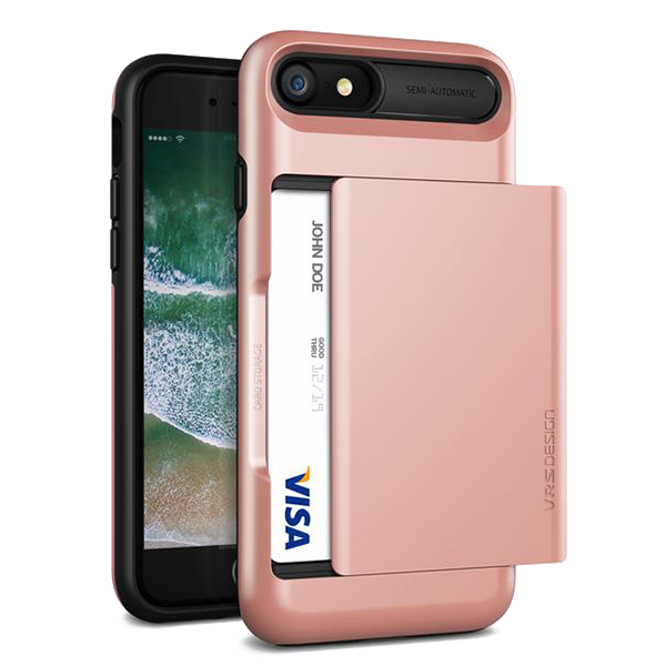 Чехол-кошелек VRS Design Damda Glide для iPhone 8/7 Розовое золотоЧехлы<br>Чехол-кошелек VRS Design Damda Glide для iPhone 8/7 Розовое золото.       Damda Glide - уникальный аксессуар, совмещающий в себе сразу 2 вещи:        Во-первых- это стильный и достаточно компактный противоударный кейс, лицензированный по Американскому военному стандарту защищенности MIL-STD 810G-516.6, способный противостоять большинству возможных угроз. Этого удалось добиться благодаря двухкомпонентности: чехла из плотного силикона (термопластичного полиуретана) и панцыря из удоростойкого поликарбоната              Во-вторых- это полноценный кошелек, в который вы можете поместить до 3х пластиковых карт или пару карт и немного наличности. При этом отсек для хранения имеет дверку с полуавтоматической доводкой во время открытия или закрытия          Характеристики:     совместимость: iPhone 8, iPhone 7   материалы: поликаронат, термополеуретан   защита по военному стандарту MIL-STD 810G-516.6   отсек для хранения пластиковых карт и наличности<br>