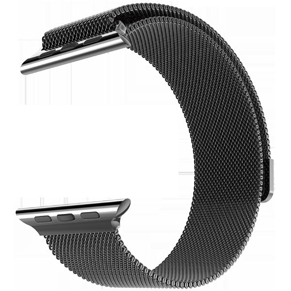 Браслет сетчатый миланский Milanese для Apple Watch 2 / 1 (42мм) ЧерныйРемешки<br>Браслет составляет сетка из нержавеющей стали, сплетенная в стиле, изобретенном в Милане, откуда и берет название. Фиксируется браслет к часам благодаря фирменному магнитному креплению     Окончание браслета венчает мощный магнит, который позволяет одним движением руки зафиксировать нужную длину под любой объем запястья           Браслет прекрасно подходит как мужской, так и женской аудитории<br>