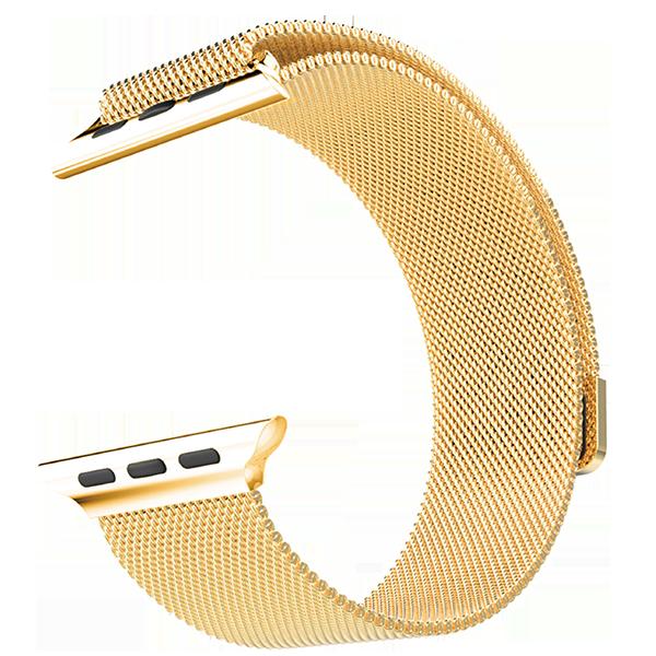 Браслет сетчатый миланский Milanese для Apple Watch 2 / 1 (38мм) ЗолотоРемешки<br>Браслет составляет сетка из нержавеющей стали, сплетенная в стиле, изобретенном в Милане, откуда и берет название. Фиксируется браслет к часам благодаря фирменному магнитному креплению.     Окончание браслета венчает мощный магнит, который позволяет одним движением руки зафиксировать нужную длину под любой объем запястья.           Браслет прекрасно подходит как мужской, так и женской аудитории.<br>