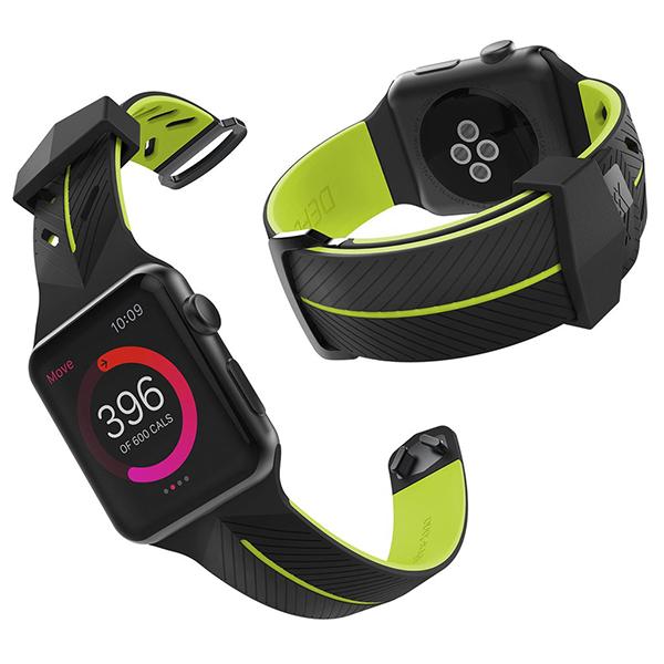Ремешок X-Doria Action Band для Apple Watch 42мм 3/2/1 Черно-ЖелтыйРемешки<br>Стильный ремешок из мягкого гипоалергенного силикона отлично подойдет людям с активным образом жизни         Удобная металлическая застежка позволяет зафиксировать ремешок на запястье любой руки                 ХАРАКТЕРИСТИКИ:     материал: гипоалергенный силикон   совместимость: apple watch 42мм всех поколений<br>
