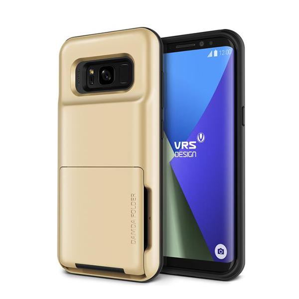 Чехол с отсеком для карт VRS Design Damda Folder для Galaxy S8 Plus ЗолотоЧехлы<br>Damda Folder - это новый кейс от VRS Design, призванный не только защитить ваш новый Galaxy S8 Plus, но и заменить вам полноценный кошелек! Емкий отсек позволяет вместить до 5 пластиковых карт, или пару карт и немного наличности. Решение так же оценят любители путешествовать        Сам же кейс сертифицирован по Американскому военному стандарту MIL-STD 810G-516.6 - ему не страшны большинство падений, он защищает от пыли и грязи, влаги и температурных скачков              При этом кейс остается максимально компактным. Его габариты 15.24х5.08х1.88 сантиметров, а вес составляет всего 62 грамма        Все продукты VRS Design производятся в Южной Корее и отличаются превосходным качеством исполнения. kremlinstore является авторизованным реселлером компании на территории Российской Федерации<br>