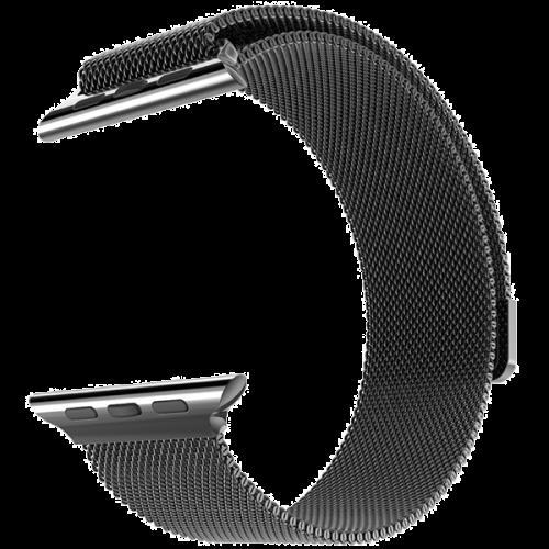 Браслет сетчатый миланский Milanese для Apple Watch 2 / 1 (38мм) ЧерныйРемешки<br>Браслет составляет сетка из нержавеющей стали, сплетенная в стиле, изобретенном в Милане, откуда и берет название. Фиксируется браслет к часам благодаря фирменному магнитному креплению.     Окончание браслета венчает мощный магнит, который позволяет одним движением руки зафиксировать нужную длину под любой объем запястья.           Браслет прекрасно подходит как мужской, так и женской аудитории.<br>