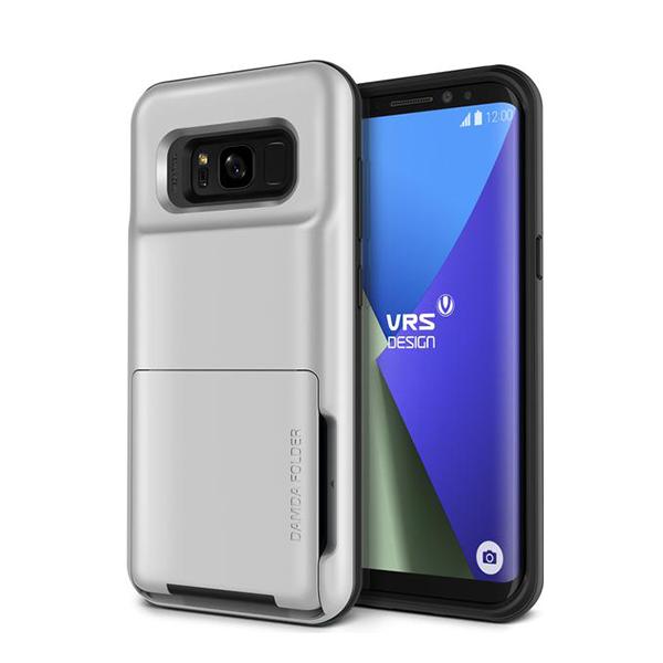 Чехол с отсеком для карт VRS Design Damda Folder для Galaxy S8 Plus СереброЧехлы<br>Damda Folder - это новый кейс от VRS Design, призванный не только защитить ваш новый Galaxy S8 Plus, но и заменить вам полноценный кошелек! Емкий отсек позволяет вместить до 5 пластиковых карт, или пару карт и немного наличности. Решение так же оценят любители путешествовать        Сам же кейс сертифицирован по Американскому военному стандарту MIL-STD 810G-516.6 - ему не страшны большинство падений, он защищает от пыли и грязи, влаги и температурных скачков              При этом кейс остается максимально компактным. Его габариты 15.24х5.08х1.88 сантиметров, а вес составляет всего 62 грамма        Все продукты VRS Design производятся в Южной Корее и отличаются превосходным качеством исполнения. kremlinstore является авторизованным реселлером компании на территории Российской Федерации<br>