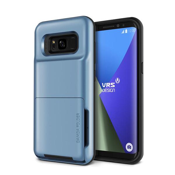 Чехол с отсеком для карт VRS Design Damda Folder для Galaxy S8 Plus СинийЧехлы<br>Damda Folder - это новый кейс от VRS Design, призванный не только защитить ваш новый Galaxy S8 Plus, но и заменить вам полноценный кошелек! Емкий отсек позволяет вместить до 5 пластиковых карт, или пару карт и немного наличности. Решение так же оценят любители путешествовать        Сам же кейс сертифицирован по Американскому военному стандарту MIL-STD 810G-516.6 - ему не страшны большинство падений, он защищает от пыли и грязи, влаги и температурных скачков              При этом кейс остается максимально компактным. Его габариты 15.24х5.08х1.88 сантиметров, а вес составляет всего 62 грамма        Все продукты VRS Design производятся в Южной Корее и отличаются превосходным качеством исполнения. kremlinstore является авторизованным реселлером компании на территории Российской Федерации<br>