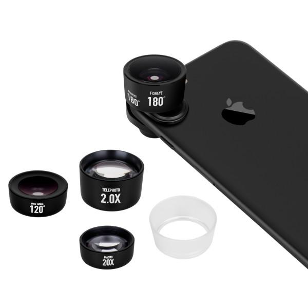 Momax X-Lens Pro Kit - набор объективов для смартфонов ЧерныйОбъективы<br>Новый премиальный набор объективов Momax X-Lens Pro Kit для любителей мобильной фото и видео съемки поможет расширить творческие возможности и реализовать любые задумки                   Новая система быстрой смены объективов, позволит менять их на лету и совместима с подавляющим большинством смартфонов на рынке, деже если вы используете чехол, а бленда, идущая в комплекте, позволит избежать неприятных засветов при съемке против солнца. Объективы поставляются в премиальном текстильном компактном кейсе                ТЕЛЕОБЪЕКТИВ С РАЗМЫТИЕМ ЗАДНЕГО ПЛАНАПомимо двукратного оптического приближения, которое дает телеобъектив, вы получаете меньшую глубину резкости, благодаря которой ваши портреты получат настоящий оптический боке (размытие заднего плана), не идущий ни в какое сравнение с программным на iPhone 7 Plus           МАКРОНевероятное 20-кратное увеличение позволит снимать микроскопические объекты и создавать кадры с минимальной глубиной резкости           ШИРОКОУГОЛЬНЫЙШирокоугольная линза имеет угол обзора аж 120 градусов и идеально подойдет для съемки пейзажей и стрит фотографий, а так же поможет уместить большую компанию друзей в один кадр не отходя при этом на полтора километра           РЫБИЙ ГЛАЗОтличный творческий объектив, имеющий сверхширокий обзор и дающий эффект присутствия                   КОМПЛЕКТАЦИЯ:     набор из 4х объективов   система быстрой фиксации   бленда   текстильный чехол<br>