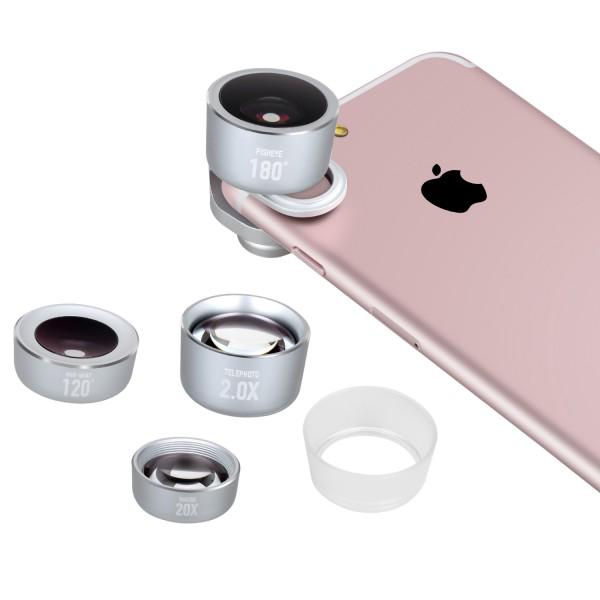 Momax X-Lens Pro Kit - набор объективов для смартфонов СереброОбъективы<br>Новый премиальный набор объективов Momax X-Lens Pro Kit для любителей мобильной фото и видео съемки поможет расширить творческие возможности и реализовать любые задумки                    Новая система быстрой смены объективов, позволит менять их на лету и совместима с подавляющим большинством смартфонов на рынке, деже если вы используете чехол, а бленда, идущая в комплекте, позволит избежать неприятных засветов при съемке против солнца. Объективы поставляются в премиальном текстильном компактном кейсе                  ТЕЛЕОБЪЕКТИВ С РАЗМЫТИЕМ ЗАДНЕГО ПЛАНАПомимо двукратного оптического приближения, которое дает телеобъектив, вы получаете меньшую глубину резкости, благодаря которой ваши портреты получат настоящий оптический боке (размытие заднего плана), не идущий ни в какое сравнение с программным на iPhone 7 Plus             МАКРОНевероятное 20-кратное увеличение позволит снимать микроскопические объекты и создавать кадры с минимальной глубиной резкости             ШИРОКОУГОЛЬНЫЙШирокоугольная линза имеет угол обзора аж 120 градусов и идеально подойдет для съемки пейзажей и стрит фотографий, а так же поможет уместить большую компанию друзей в один кадр не отходя при этом на полтора километра             РЫБИЙ ГЛАЗОтличный творческий объектив, имеющий сверхширокий обзор и дающий эффект присутствия                    КОМПЛЕКТАЦИЯ:     набор из 4х объективов   система быстрой фиксации   бленда   текстильный чехол<br>