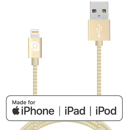 Кабель REQUIRED Braided MFI Lightning to USB Шампань фото