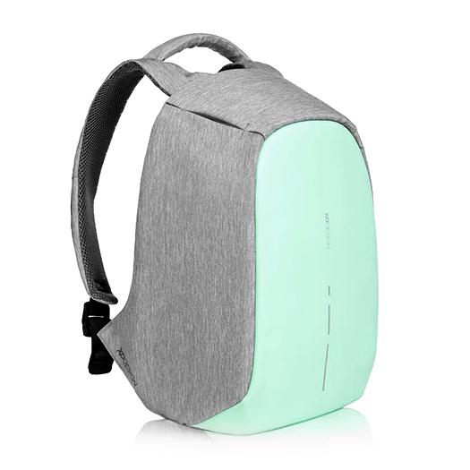 Рюкзак XD Design Bobby Compact anti-theft backpack Mint GreenРюкзаки<br>Что это?Жить в современном мегаполисе – жить в постоянном движении. Каждый день мы смешиваемся с толпой в автобусе, метро, на улице спеша на работу, учебу, в гости к бабушке. И каждый день мы рискуем стать одним из сорока тысяч жертв карманной кражи          Рюкзак Bobby – проект родом с Kickstarter'a от XD Design, объединяющий в себе стиль, безопасность и удобство использования. Аскетичный, на первый взгляд, портфель оборудован USB-разъемом для подзарядки смартфона, множеством потайных кармашков, светодиодами, распределителями веса и, самое главное, защитой от грабителей. Специально для тех, кто часто путешествует, предусмотрено удобное крепление на чемодан                Защита от кражиДизайнеры заявляют, что идея создания Bobby появилась после посещения Шанхая. В переполненном городе туристы, опасаясь кражи, носили свои портфели задом наперед. За счет своего уникального дизайна, Bobby похож на стильный мешок – на нем нет ни одной видимой молнии. Для того, что добраться к содержимому необходимо подвернуть края рюкзака, за которыми спрятана оригинальная застежка YKK           Рюкзак, в зависимости от потребности, открывается под тремя углами. Для быстрого доступа в общественном транспорте или на ходу достаточно приоткрыть его на 30 градусов, а для полной загрузки или разгрузки содержимого - на 90 и даже 180 градусов                  Всё под рукойДля удобного пользования в общественных местах предусмотрено множество потайных мелких карманчиков для быстрого доступа к содержимому сумки. Кармашки в лямках подойдут для хранения мелочи, кредитных карт или ключей. Еще один незаметный карман на спинке и два боковых отделения на «крыльях» для самого ценного в поездке – документов или смартфона                Защита от порезовДля защиты от воров с колюще-режущими предметами, создатели оборудовали рюкзак прослойкой из пяти разных материалов. Внешний слой – приятная и эстетичная водонепроницаемая ткань из 