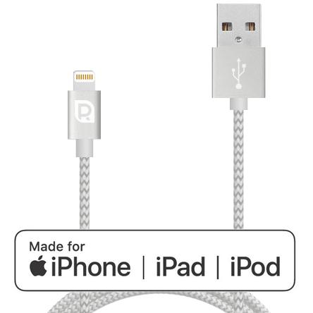 Кабель REQUIRED Braided MFI Lightning to USB Серебро фото