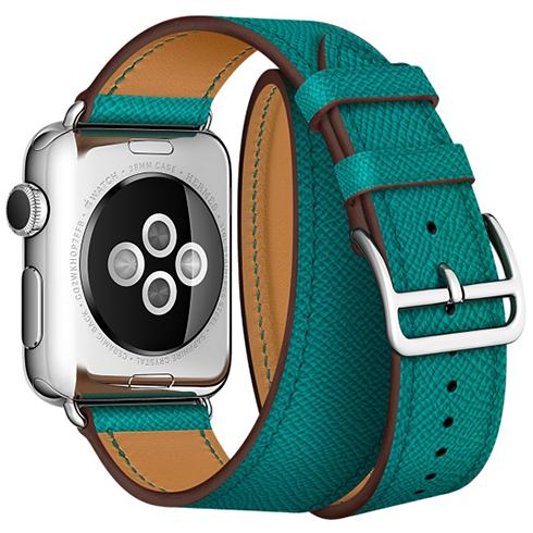 Ремешок кожаный HM Style Double Tour для Apple Watch 2 / 1 (42mm) ЗеленыйРемешки<br>Невероятно качественные и стильные ремешки изготовлены из натуральной кожи высочайшего качества     Длинный ремешок дважды обнимает запястье, образуя стильное сочетание с часами           Аксессуар предназначен для запястья 140-160 миллиметров<br>