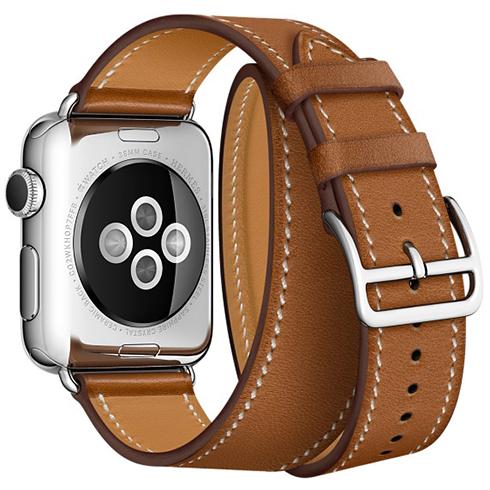 Ремешок кожаный HM Style Double Tour для Apple Watch 2 / 1 (42mm) КоричневыйРемешки<br>Невероятно качественные и стильные ремешки изготовлены из натуральной кожи высочайшего качества     Длинный ремешок дважды обнимает запястье, образуя стильное сочетание с часами           Аксессуар предназначен для запястья 140-160 миллиметров<br>