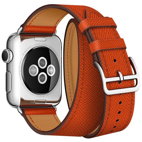 Ремешок кожаный HM Style Double Tour для Apple Watch 2 / 1 (42mm) ОранжевыйРемешки<br>Невероятно качественные и стильные ремешки изготовлены из натуральной кожи высочайшего качества     Длинный ремешок дважды обнимает запястье, образуя стильное сочетание с часами           Аксессуар предназначен для запястья 140-160 миллиметров<br>