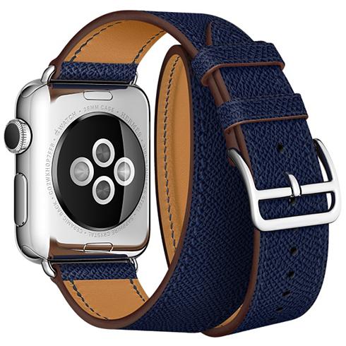 Ремешок кожаный HM Style Double Tour для Apple Watch 42/44 mm Темно-Синий фото