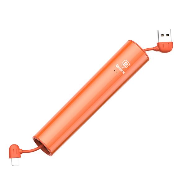 Внешний аккумулятор Baseus No.5 2000mAh с проводом Lightning/Micro USB ОранжевыйДополнительные аккумуляторы<br>Внешний аккумулятор Baseus No.5 2000mAh с проводом Lightning/Micro USB Оранжевый.       Ультракомпактный дополнительный аккумулятор от Baseus, который не займет много места в кармане, рюкзаке или сумке, однако выручит в нужный момент, зарядив смартфон         Встроенный провод с универсальным двухсторонним коннектором позволяет заряжать мобильный устройства от Apple и гаджеты с micro USB                 ХАРАКТЕРИСТИКИ:     емкость 2000mah   встроенный кабель lightning/micro usb   выходной ток 2.1 Ампер<br>