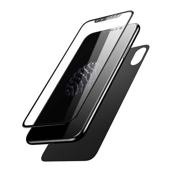 Переднее + заднее стекло Baseus Glass Film Set для iPhone X Черные