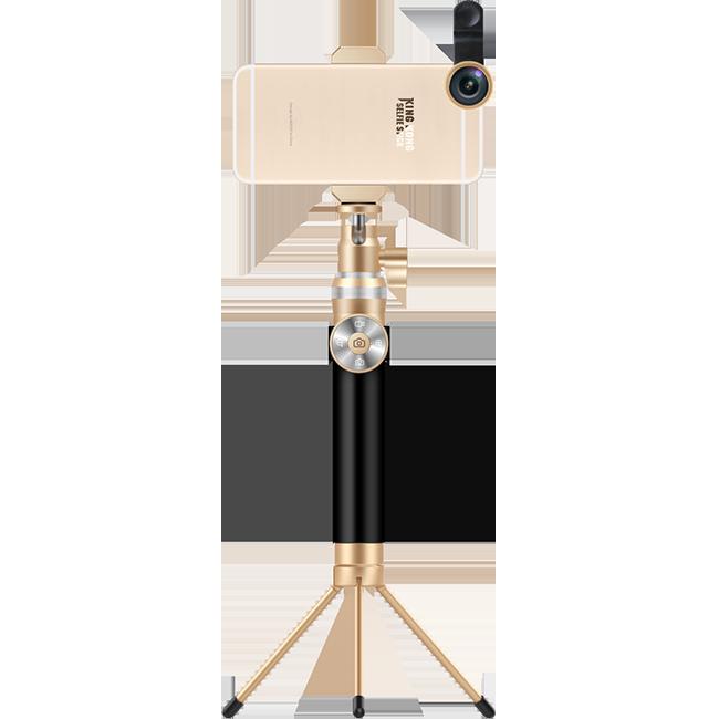 Премиум монопод + трипод + штатив Noosy KingKong ЗолотоМоноподы<br>Ультимативный монопод от Noosy полностью выполнен из авиационного алюминия и является не просто палкой для селфи а неким гибридом с профессиональным штативом. Его длина в разложенном состоянии достигает 92 см., а в сложенном всего 24. Отсоединяемый пульт управления с функциями фото, видео и зума совместим с Android и Apple (на iOs работает только кнопка спуска).           Так же в комплект поставки входит компактная металлическая тринога, позволяющая превратить аксессуар в полноценный штатив                 Стандартная резьба на вращающейся головке позволяет установить лубой фотоаппарат, от дешевой мыльницы до профессиональной зеркалки       Комплектация:     монопод Noosy KingKong   пульт управления   крепление для смартфона от 4 до 6 дюймов   металлическая тринога   ремешок на запястье   зарядный кабель   мешочек для переноски<br>
