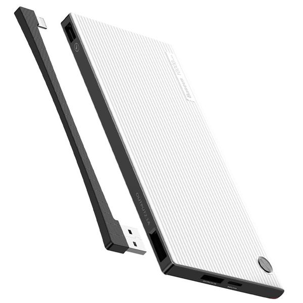 Внешний аккумулятор Baseus Esazi Dual input Digital display 10000mah БелыйДополнительные аккумуляторы<br>Новое поколение аккумуляторовBaseus выводит развитие дополнительных аккумуляторов на новый уровень, добавляя функционал, который они никогда ранее не имели. Это наличие дисплея на корпусе, показывающего точный заряд в процентах и скорость зарядки. Это возможность зарядки сразу от 2х различных входов: micro usb и двустороннего type-c, через который можно заряжать не только гаджеты, но и сам аккумулятор          Встроенный Lightning/Micro кабельГлавной особенностью модели является встроенный двусторонний кабель с разъемом micro usb/lightning, которым всегда можно зарядить как гаджет с соответствующим разъемом, так и сам внешний аккумулятор                БезопасностьАккумулятор имеет интеллектуальную систему защиту от всех возможных угроз, среди которых перегрев, скачки напряжения, перезарядка и прочие          Характеристики:     аккумулятор: литий-полимерный 10000mAh   габариты: 148 х 70 х 16мм   масса: 200 грамм   выходы: USB, Type-C 2.1 Ампер   вход: USB, Type-C   встроенный Lightning/Micro USB кабель<br>