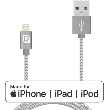 Кабель REQUIRED Braided MFI Lightning - USB Графит фото