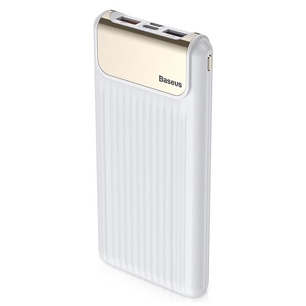 Внешний аккумулятор Baseus Thin QC3.0 Dual input Digital Display w/cable 10000mAh БелыйДополнительные аккумуляторы<br>Внешний аккумулятор Baseus Thin QC3.0 Dual input Digital Display w/cable 10000mAh Белый.         Новое поколение аккумуляторовBaseus выводит развитие дополнительных аккумуляторов на новый уровень, добавляя функционал, который они никогда ранее не имели. Это наличие дисплея на корпусе, показывающего точный заряд в процентах и скорость зарядки. Это возможность зарядки сразу от 2х различных входов: micro usb и двустороннего type-c, через который можно заряжать не только гаджеты, но и сам аккумулятор           Быстрая зарядка самого аккумулятора и гаджетов от негоУстройство имеет поддержку быстрой зарядки Quick Charge 3.0 и способно заряжаться в разы быстрее обычных внешних аккумуляторов, а так же быстро заряжать гаджеты. Это устройство сэкономит вам много денег, так как время - деньги                 БезопасностьАккумулятор имеет интеллектуальную систему защиту от всех возможных угроз, среди которых перегрев, скачки напряжения, перезарядка и прочие           Характеристики:     аккумулятор: литий-полимерный 10000mAh   габариты: 110 х 71 х 30.6мм   масса: 299 грамм   быстрая зарядка Qualcom Quick Charge 3.0 3.6V-5V/3A 5V-9V/2A 9V-12V/1.5A   вход: USB, Type-C<br>