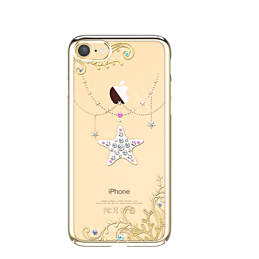 Чехол с Swarovski Kingxbar Ocean Series для iPhone 7 StarЧехлы<br>Ультратонкая, практически невесомая накладка из прозрачного поликарбоната толщиной 0.7мм с метализированными краями и узорами     Все порты остаются доступными для использования, а кнопки нажимаются без дополнительного усилия           Аксессуар инкрустирован блистающими лицензионными кристаллами Swarowski, по качеству с которыми не может сравниться ни один конкурент<br>