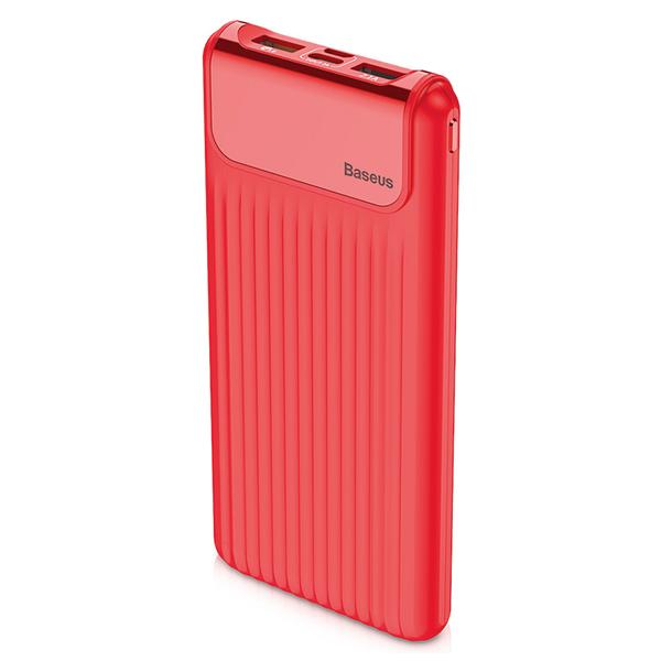 Внешний аккумулятор Baseus Thin QC3.0 Dual input Digital Display w/cable КрасныйДополнительные аккумуляторы<br>Новое поколение аккумуляторовBaseus выводит развитие дополнительных аккумуляторов на новый уровень, добавляя функционал, который они никогда ранее не имели. Это наличие дисплея на корпусе, показывающего точный заряд в процентах и скорость зарядки. Это возможность зарядки сразу от 2х различных входов: micro usb и двустороннего type-c, через который можно заряжать не только гаджеты, но и сам аккумулятор           Быстрая зарядка самого аккумулятора и гаджетов от негоУстройство имеет поддержку быстрой зарядки Quick Charge 3.0 и способно заряжаться в разы быстрее обычных внешних аккумуляторов, а так же быстро заряжать гаджеты. Это устройство сэкономит вам много денег, так как время - деньги                 БезопасностьАккумулятор имеет интеллектуальную систему защиту от всех возможных угроз, среди которых перегрев, скачки напряжения, перезарядка и прочие           Характеристики:     аккумулятор: литий-полимерный 10000mAh   габариты: 110 х 71 х 30.6мм   масса: 299 грамм   быстрая зарядка Qualcom Quick Charge 3.0 3.6V-5V/3A 5V-9V/2A 9V-12V/1.5A   вход: USB, Type-C<br>