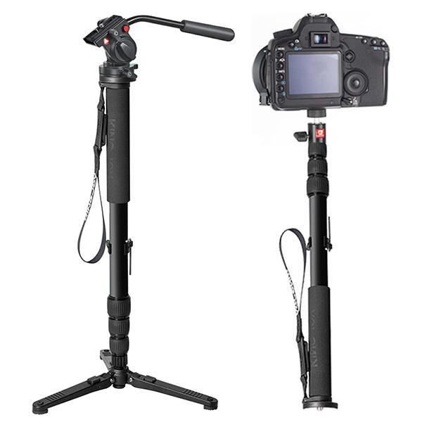 Видео монопод KingJoy MP3008 + KH-6750Моноподы<br>Видео монопод KingJoy MP3008 + KH-6750.       Высококачественный профессиональный видео монопод имеет магниево-карбоновый корпус - высокопрочный, но при этом легкий с максимальной нагрузкой в 30 килограмм. 4 раскладные секции позволяют поднять монопод на высоту до 1.67 метра         Монопод комплектуется видео головой KH-6750 с плавным ходом, которая хорошо подойдет для съемки видео                 Характеристики:  Монопод MP3008F     материал: карбон + магниевый сплав   количество секций: 4   диаметр: от 25 до 34.6мм   минимальная высота: 585мм   максимальная высота: 1665мм   вес 0.86кг   максимальная нагрузка: 30кг    Голова KH-6750     материал: металл   максимальная нагрузка 7 кг<br>